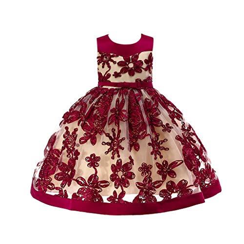 YWLINK MäDchen Prinzessin ÄRmellos Hohe Taille Retro Brautjungfer Kleid Stickerei Party Hochzeit Kleiden Mit Bogen GüRtel Abendkleid Elegant Klassisch(Rot,120)