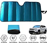 GWUSKDT Car Windshield Sunshade-Thicken 5-Layer Bubble Block Heat and Sun UV Rays,Front Windshield Sun Shade- Keeps Your Vehicle Cool - 58 x 27.5 Inch (Blue)