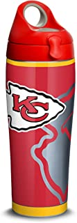 Tervis 1305190 NFL Kansas City Chiefs Rush Stainless Steel Insulated Tumbler with Red with Gray Lid, 24oz Water Bottle, Silver