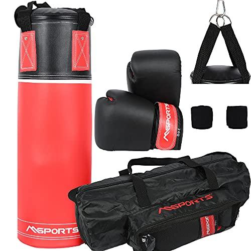 MSPORTS Boxsack-Set Professional für Kinder und Jugendliche 60 x 20 cm, Box-Set mit Boxhandschuhen, Boxbandagen und Tasche - 5,5 kg Rot-Schwarz Boxset