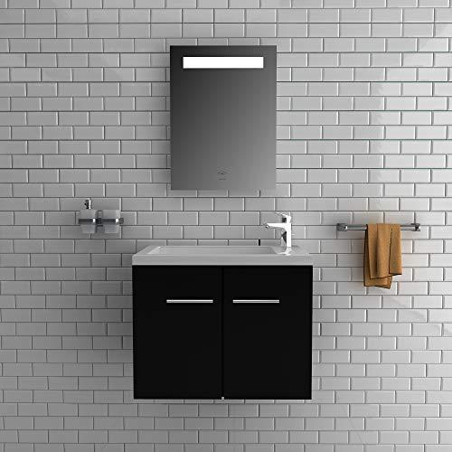 Alpenberger complete badkamermeubelset 50 x 33 cm | wastafel met geïntegreerde overloop van gegoten mineraal + onderkast met softclose functie + spiegel met LED-verlichting en touch-schakelaar modern zwart