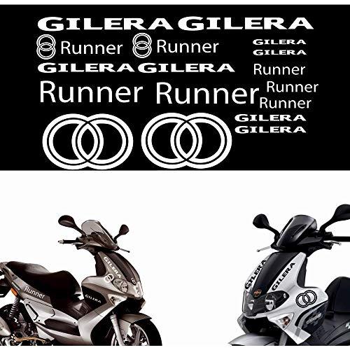 SUPERSTICKI Gilera Runner Logo Set Motorrad Aufkleber Bike Auto Racing Tuning aus Hochleistungsfolie Aufkleber Autoaufkleber Tuningaufkleber Hochleistungsfolie für alle glatten Flächen UV u