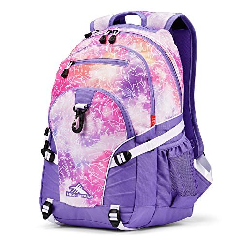High Sierra Loop Backpack, School, Travel, or Work Bookbag with tablet sleeve, Unicorn Clouds/Lavender/White, One Size