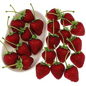Gresorth 12pcs Artificial Lifelike Simulation Big Strawberry Fake Fruit Home Kitchen Decor Photo Props