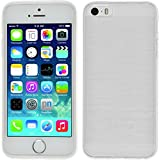PhoneNatic Case kompatibel mit Apple iPhone 5 / 5s / SE - weiß Silikon Hülle Brushed + 2 Schutzfolien