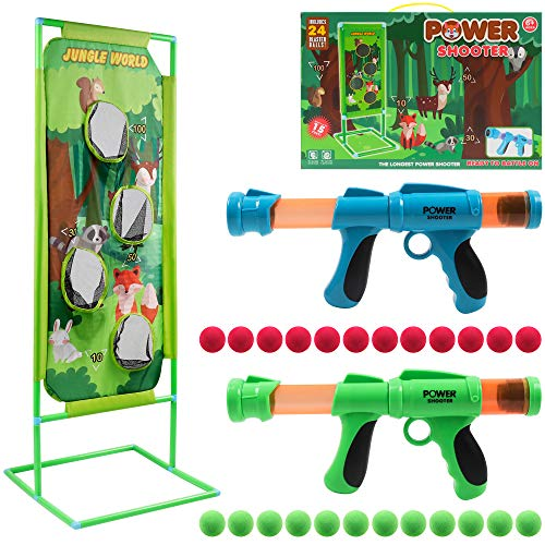 DigHealth 2 Pezzi Pistola Giocattolo con Bersaglio di Tiro Mondo Giungla, Giocattolo di Tiro Bambini con 24 PCS Palline di Spugna, Palle da Tiro Pistola Blaster Regali per Bambini di 3-10 Anni