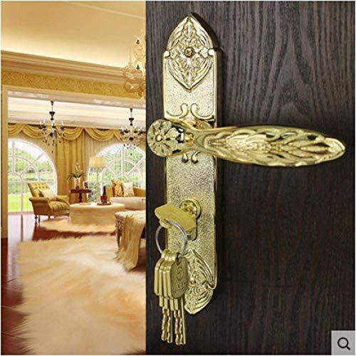 Reines Kupfer Antik Indoor Massivholz Türschloss Alle Kupfer Europäischen Stil Griff Zimmertürschloss Vergoldet