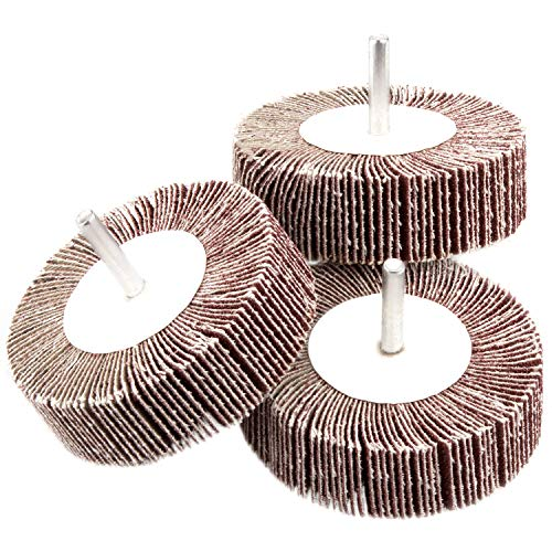 5 Pack Sanding Flap Wheel 3.15 x 1 x 1/4 inch Shank Mounted Flap Wheels 80 Grit Aluminum Oxide Abrasive Flap Grinding Wheels for Remove Rust, Weld Burr Polishing Flat - Fit for Most of Drill