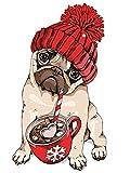 YEESAM ART Papelería Pug Dog Coffee, pintura por números, 40,6 x 50,8 cm, kit...