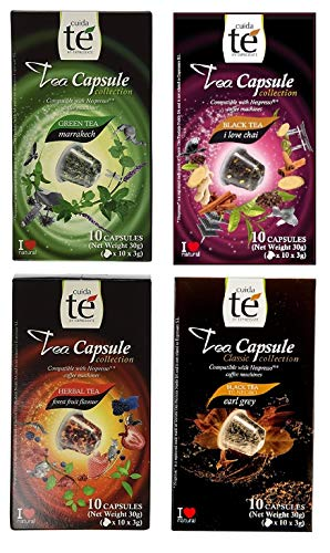 40 Nespresso Compatible Pods - Tea Variety Pack: Earl Gray Tea, Marrakech Green Tea, Spiced Chai Tea and Forest Fruit Tea (1 box each / 10 pods per box)