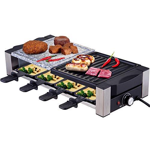 Syntrox Germany Multifunktionelles Edelstahl Raclette Davos mit Grill und Heißer Stein für 8 Personen