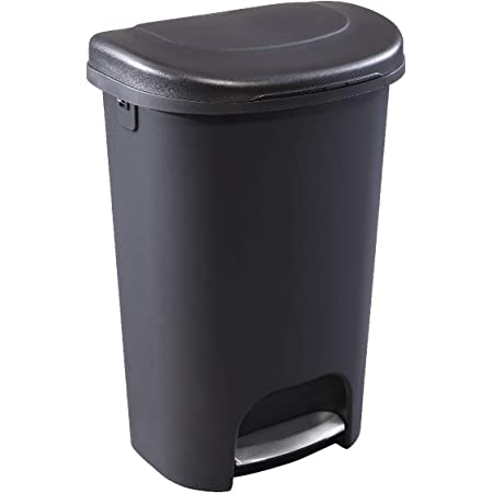 Rubbermaid Classic 13G Classic Black Step-On Trash Can with Stainless-Steel Pedal