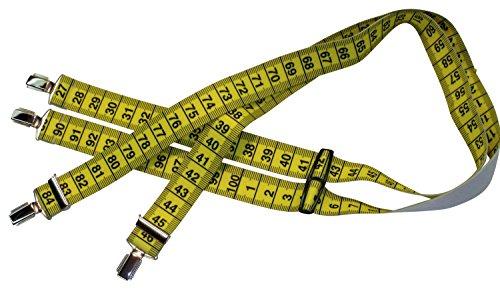 Gelbe Hosenträger | Maßband-Design | Damen und Herren | One Size 120 cm | Anzug-Hosenträger | Arbeitskleidung-Hosenträger | Teichmann
