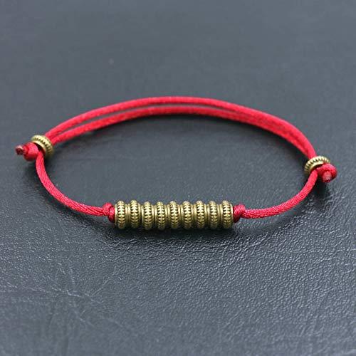 Pulsera de cuentas de oro antiguo, pulsera de hilo rojo tibetano para mujeres, hombres, parejas, amuleto de Buda, joyería de regalo de la suerte (Color de metal: vino)