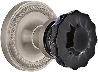 Nostalgic Warehouse 727306 Rope Rosette Privacy Crystal Black Glass Door Knob in Satin Nickel, 2.75