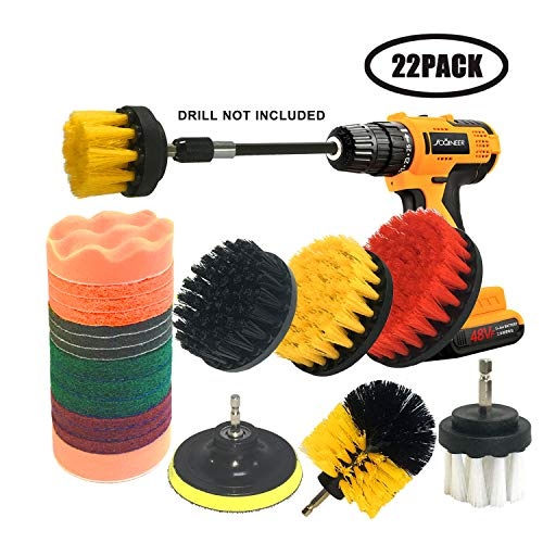 JOQINEER 22 Pieces Drill Brush Scrub Pads with Long Reach Attachment Set for Bathroom Shower Scrubbing car Detailing kit Household Cleaning