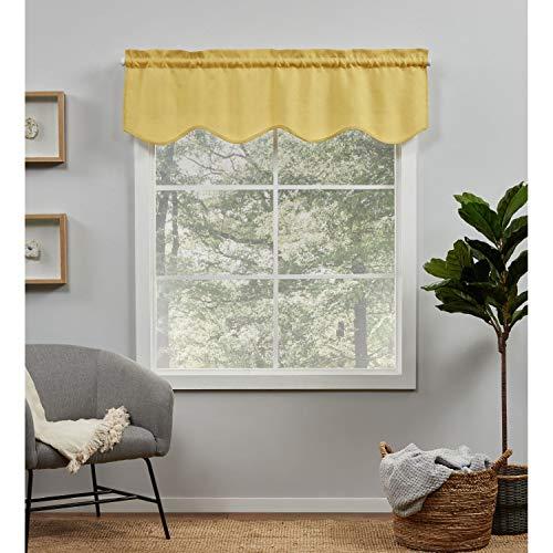 Exclusive Home Curtains Loha Light Filtering Rod Pocket Scalloped Valance, 54X16, Sunbath