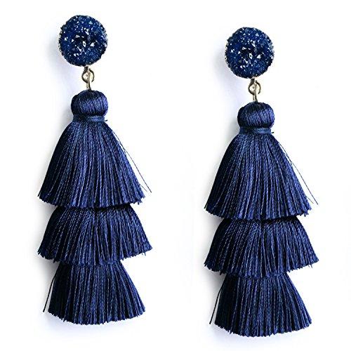 Navy Blue 3 Tier Tassel Earrings Birthstone Studs Dark Blue Dangle Earrings for Women Girls Bohemian Big Fringe Drop Earring Hypoallergenic Purplish Blue Ear Jewelry