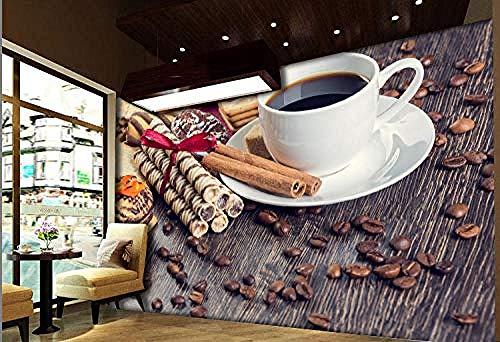 Persoonlijkheid Koffie Bean Snoepjes Koffie Winkel 3D Poster Foto's Muren Art Kinderen s Kamer Cartoon Personages Behang Grijs Muursticker Border Woonkamer voor Slaapkamer Rose Blauwe muurschildering Kinderen 400 cm.