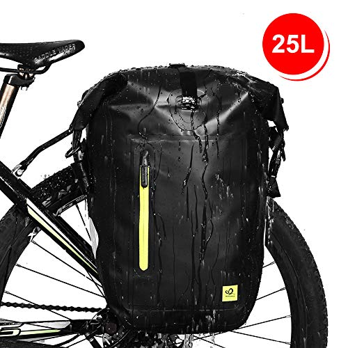 Best Deals! WATERFLY 25L Bike Bag Bike Pannier Bag Waterproof Bike Saddle Bag Extensible Bicycle Rea...