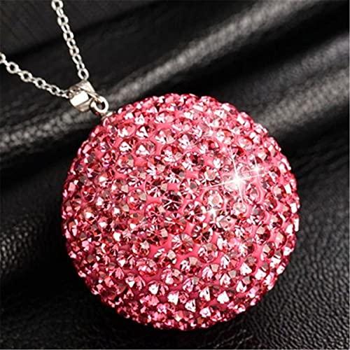 leoye Colgante de espejo retrovisor para coche, adorno de cristal con bola de la suerte, accesorios de decoración MirPendaye (color rosa rojo)