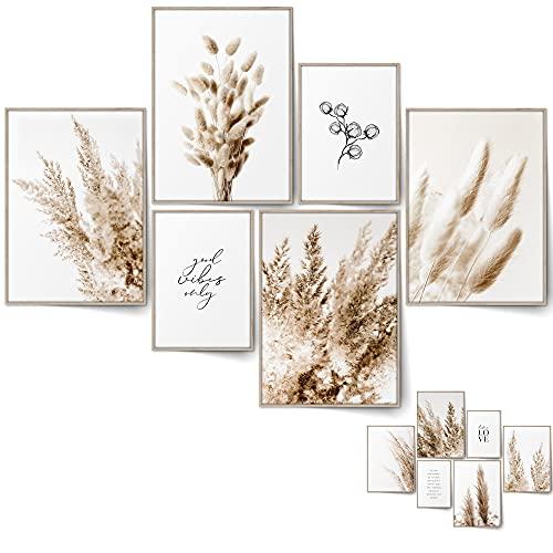 BLCKART Infinity Beige Love Poster Set Stilvolle Beidseitige Pampas Poster Wohnzimmer Deko | 4X A3 | 2X A4 | ohne Rahmen (L | 4X A3 | 2X A4 | ohne Rahmen, BEIGE Love)
