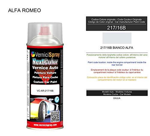 Vernice Ritocco 217/16B BIANCO ALFA per verniciatura carrozzeria in Bomboletta Spray 400 ml VerniciSpray
