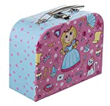 Bieco Kinderkoffer mit Prinzessin Motiv, Koffer aus Pappe, Metall-Tragegriff, Köfferchen für Kinder Bagage Enfant, 25 cm, 4 liters, Rose (Hellblau/ Pink)