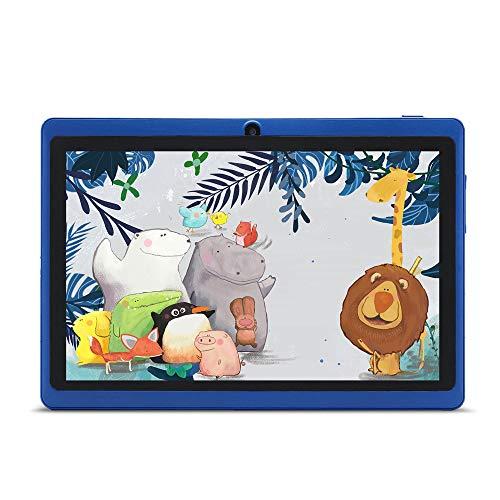 Haehne 7 Pollici Tablet PC, Google Android 4.4, Quad Core A33, Doppia Fotocamera, WiFi, Bluetooth, Per Bambini e Adulti, Blu