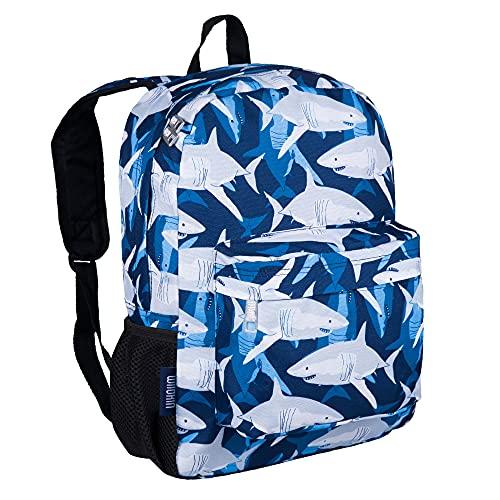 Wildkin 16 Inch Kids Backpack for Boys & Girls, 600-Denier Polyester Backpack for Kids, Features Padded Back & Adjustable Strap, Perfect for School & Travel Backpacks, BPA-Free (Sharks)