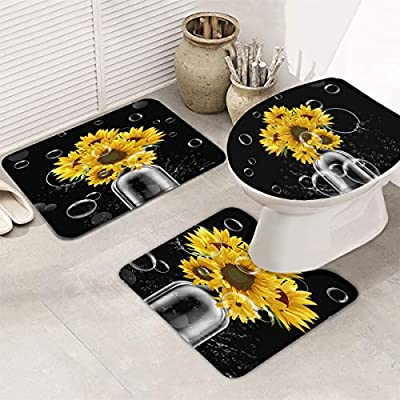 One Honey 3-Piece Bath Rug and Mat Sets, Sunflower in Bottle Non-Slip Bathroom Decor Doormat Runner Rugs, U-Shaped Toilet Floor Mats, Toilet Seat Cover Black and Bubble