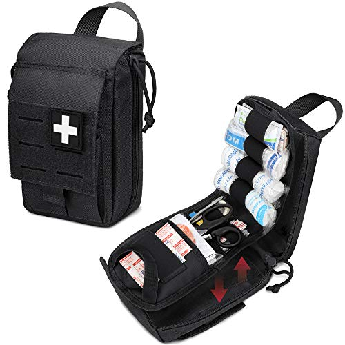 WYNEX Tactical Rip Away First Aid Pouch, Laser-Cut Design Molle EMT Bag Survival IFAK Pouches Blow Out Emergency Medical Organizer Include Red Cross Patch (Pouch Only)