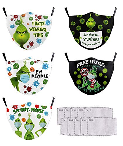 5 Pack 2020 Grinch Stink Stank Stunk Face Mask Adult Washable, Style 3