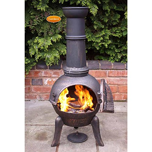 Gardeco GRANADA112 Large Bronze Cast Iron Chiminea, Ideal for Outdoor Patio Heating. Includes Matching Rain Lid & Tigerbox Matches.