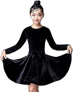 キッズ ダンス 衣装 ワンピース 4色 パールベロアダンス衣装 キッズ ラテンダンス 衣装 レッスン練習着 キッズ 子供用ラテンダンス衣装 ステージ衣装 演出服 (ブラック, 130)
