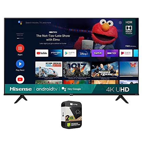 Hisense 43A6G 43 Inch A6G Series 4K UHD Smart Android TV with Dolby Vision HDR 2021 Bundle with Premium 2 Year Extended Protection Plan