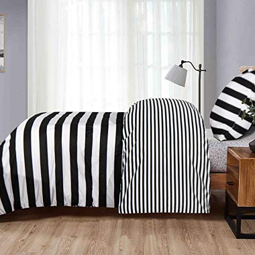 NTBAY 2-piece microfibre bed linen set with zip, super soft breathable duvet cover 135 x 200 cm and 1 pillowcase 80 x 80 cm, black and white stripes