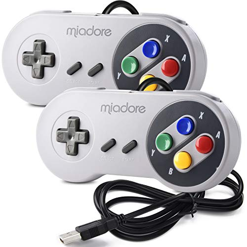miadore 2X USB Controller für SNES NES Spiele, klassischer Retro USB Gamepad Joystick für Windows PC MAC und Raspberry Pi System