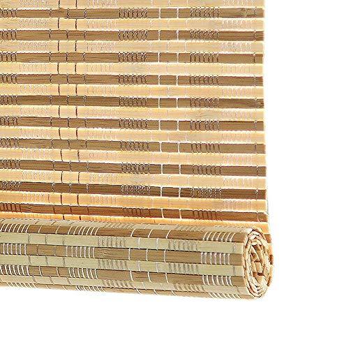 Jcnfa-Roller Blind Bamboe Rolgordijnen, Waterdicht Anti-meeldauw, Retro Decoratieve Gordijnen, Voor buiten/binnen, Met 6 inch Valance, Shading Rate 80%
