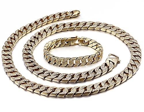 CHXISHOP Pulsera de hombre Hip Hop collar pulsera dominante acero inoxidable joyas de diamante completo grande cadena de oro cubana cadena collar conjunto de pulsera