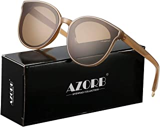 AZORB Fashion Cateye Sunglasses for Women Men Oversized Mirrored Lens Sun Glasses