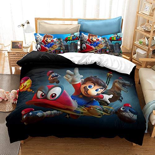 CQLXZ Super Mario-Juego de cama infantil con funda nórdica estampada digital 3D con funda de almohada para niños y niñas (E,200 x 200 cm)