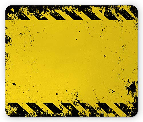 Ambesonne Vintage Yellow Mouse Pad, Hazard Theme Caution Construction Tape Illustration with Grunge Look, Rectangle Non-Slip Rubber Mousepad, Standard Size, Yellow Black