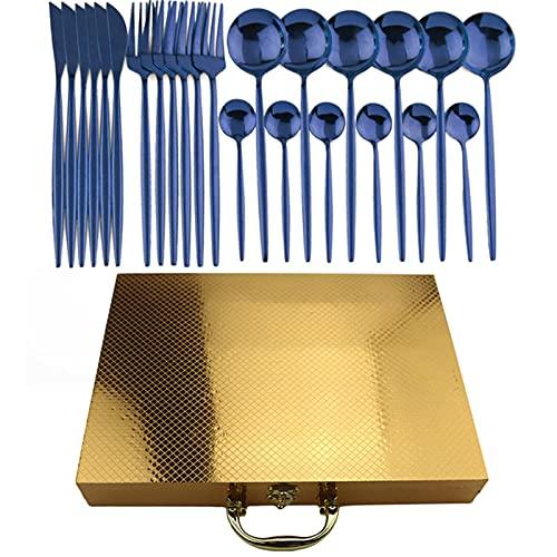 JYSXAD Juego de cubiertos de acero inoxidable de 24 piezas, juego de cubiertos de pulido de espejo, vajilla de vajilla, cuchillo, tenedor, cuchara para el hogar y la cocina con caja de regalo para 6