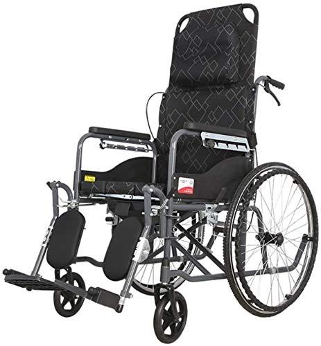 IWQTO Faltbaren Rollstuhl, High Back Reclining Pritschen, ältere Roller, Rollstuhl Rollstuhl for mit Rollstuhl, Doppel Br