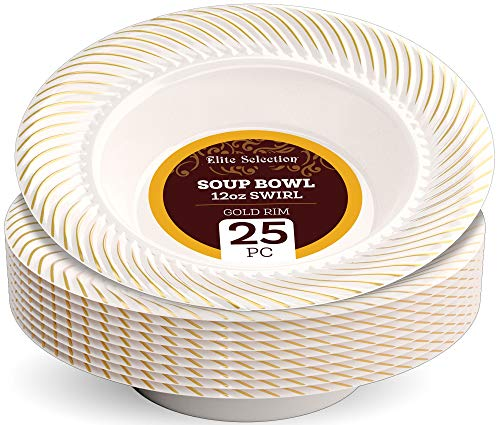 Disposable Plastic Soup Bowls - 25 Pack 12 Oz. Cream Bowl with Elegant Gold Swirl Rim Design for Wedding, Birthday, Dinner Party - by Elite Selection