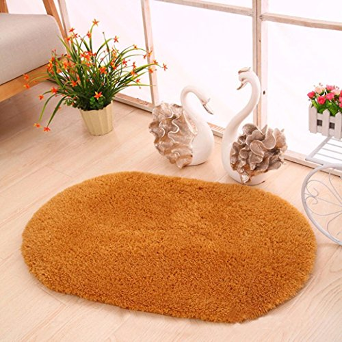 Carpet,Muxika 60cmX40cm Soft Oval Memory Foam Bath Bathroom Bedroom Floor Shower Mat Rug (Khaki)