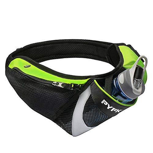 PYFK Running Belt Hydration Waist Pack with Water Bottle Holder for Men Women Waist Pouch Fanny Bag Reflective (Upgrade Green)