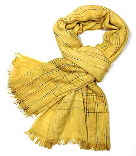 Shanlin Unisex Cotton-Linen Scarves for Men and Women (Curry-ColorThreads)