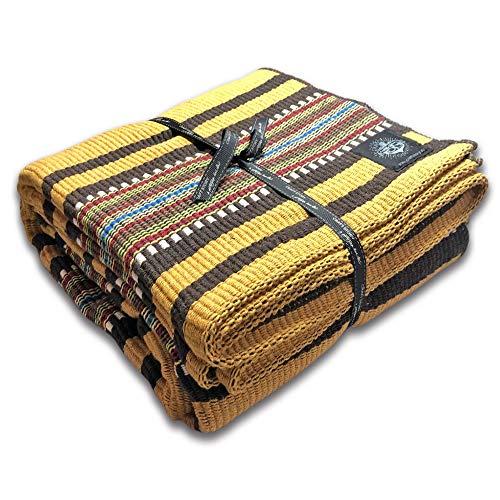 Craft Story Elda I - Manta (100% algodón, 140 x 210 cm), diseño a Rayas, Color Amarillo, Negro, Blanco, Azul y Verde